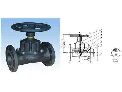 式衬胶隔膜阀 产品特点:设计与制造:bs5156  结构长度:bs5156  法兰连